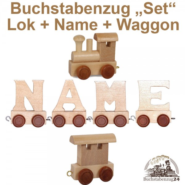 EbyReo® Buchstabenzug Lok + Maksim + Endwaggon