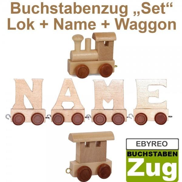 EbyReo® Buchstabenzug Lok + Aaron + Endwaggon