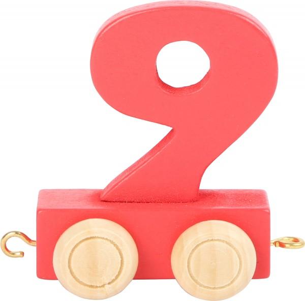 Buchstabenzug Zahl 9 bunt